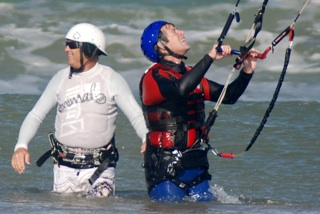 Berny and Pete beginner kitesurfing